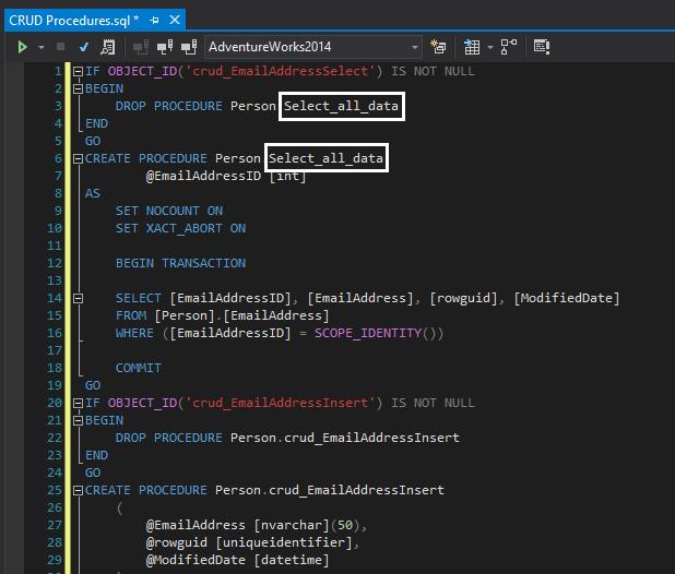 Automatically creating SQL Server CRUD procedures   TV
