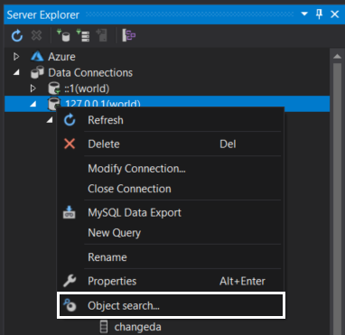 MySQL Object search command in the context menu of Server Explorer