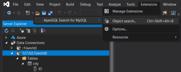 MySQL Object search command under the ApexSQL Search for MySQL main menu