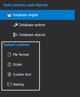 Under the Output options are features related to customizing documentation.