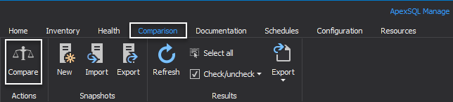 Comparison tab in ApexSQL Manage