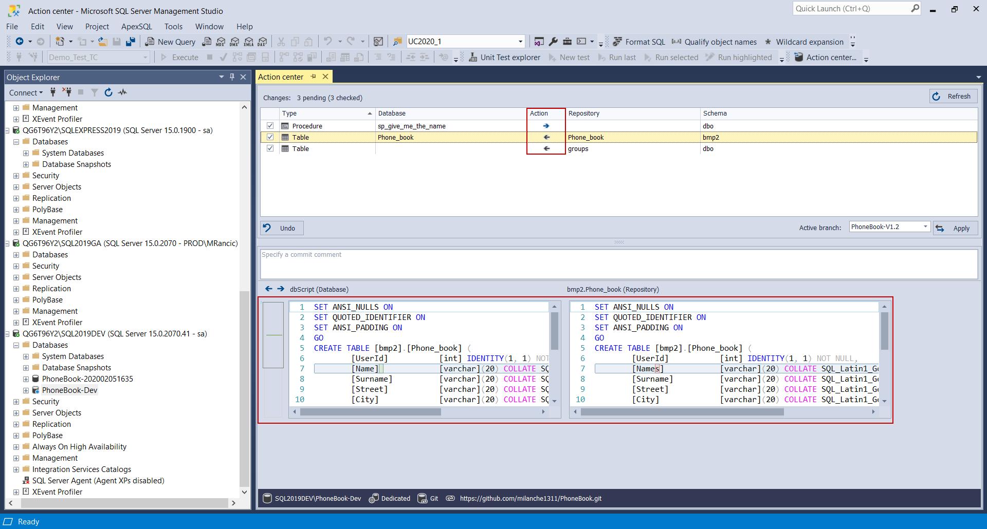 Database code synchronization
