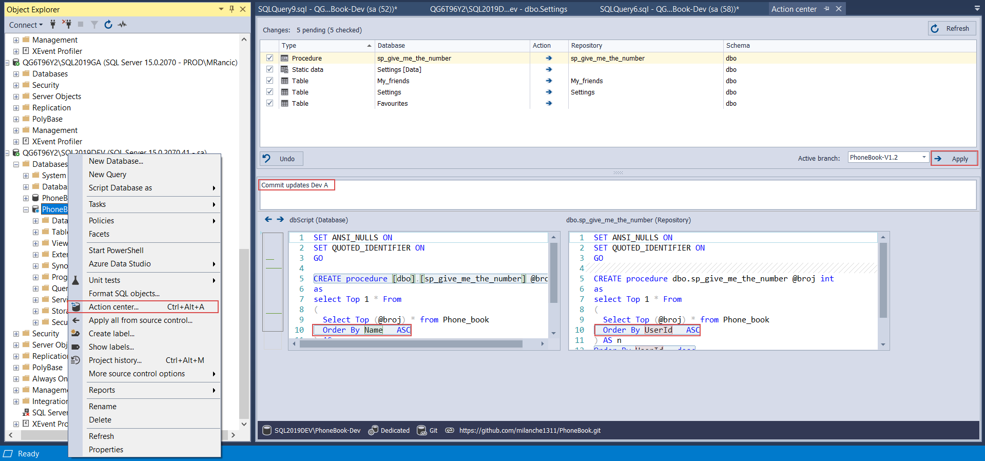 Static data code commmit for new database lifecycle iteration