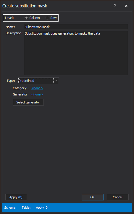 Level section in the Create substitution mask window