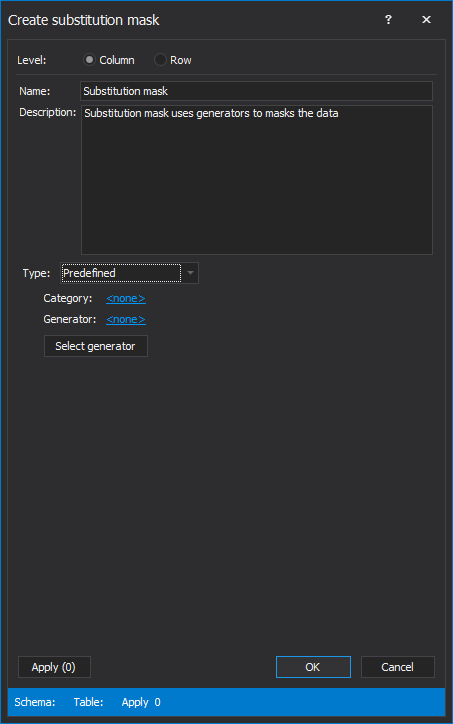 The Create substitution mask window