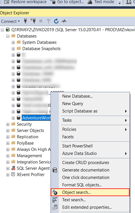 Object search command from Object Explorer context menu